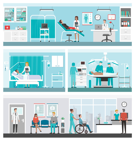 Hospital and healthcare banner set: doctors working in the office, ward, surgery, reception and patients waiting in the corridor Çizim