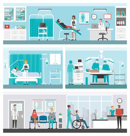 Szpitali i opieki zdrowotnej banner set: lekarze pracujący w biurze, na oddziale chirurgii, recepcji, i pacjenci czekają na korytarzu