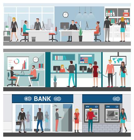 Banca e finanza set di banner, persone che lavorano in ufficio, consulente finanziario, cassieri, ATM e l'ingresso della banca Vettoriali