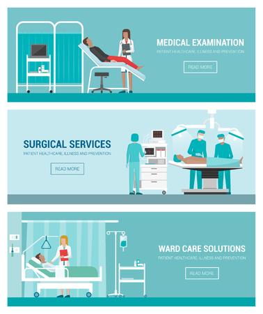 El hospital y la bandera de la salud set, examen médico, cirugía, sala y los médicos en el trabajo con pacientes Ilustración de vector