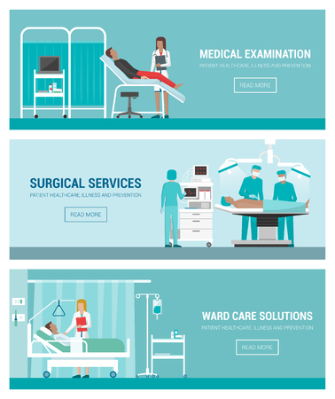 check up: Hospital and healthcare banner set, medical exam, surgery, ward and doctors at work with patients