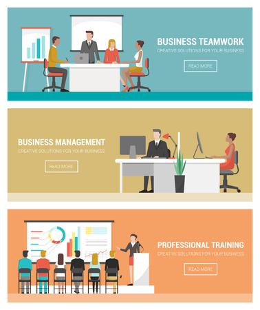 Business people working banner set, teamwork, management, finance, training and seminar Иллюстрация