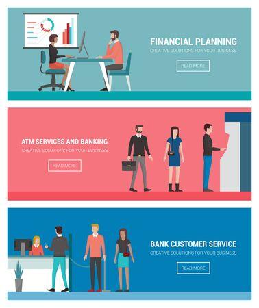 Banca y las finanzas conjunto de banners: planificación financiera, de consultoría, de autoservicio y cajeros automáticos de caja en efectivo del banco