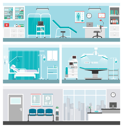 Hospital and healthcare banners set, doctor office, ward, surgery operating room, waiting room and reception Vettoriali