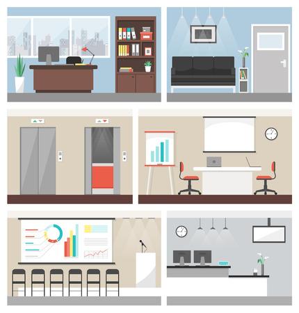 recepcion: oficina de negocios juego de construcción de la bandera, con sala de conferencias, recepción y ascensores Vectores