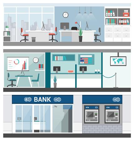 banderas bancarias y financieras establecidas, oficina, servicio al cliente, cajero automático y recepción