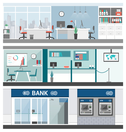 finance department: Bank and finance banners set, office, customer service, atm and reception