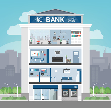 Bank building interior with office, front desk, waiting room, entrance and self service atm, banking and finance concept Vectores