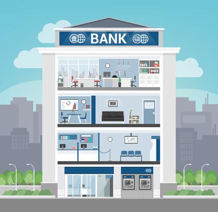 banco dinero: entre edificios bancaria con oficina, recepción, sala de espera, entrada y servicio de auto atm, la banca y las finanzas concepto Vectores