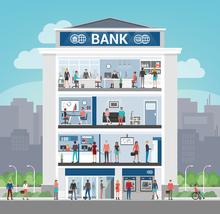 Bank building with people working and room interiors, office, front desk, waiting room, self service atm and entrance, finance and banking concept