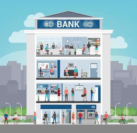 Bankgebouw met mensen werken en interieurs, kantoor, receptie, wachtkamer, self service atm en entree, finance en banking-concept