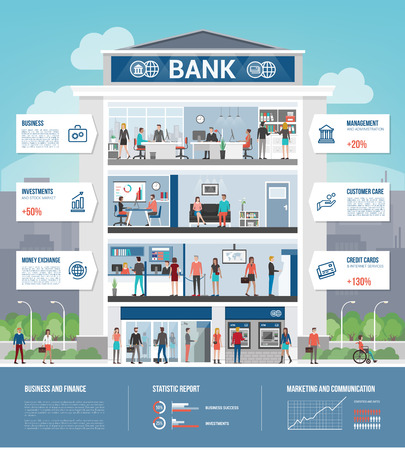 Bank building and finance infographic with interiors, text, icons set and people working