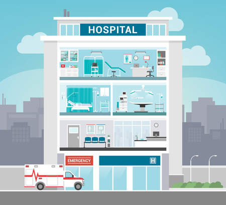 medical emergency service: Hospital building with departments, office, operating room, ward, waiting room and reception, healthcare concept