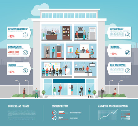 Corporate office building infographics with business people working, conference room, waiting room and reception