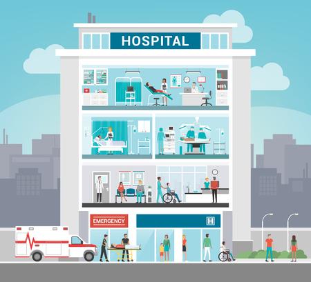 Bâtiment et service de l'hôpital avec des médecins travaillant, bureau, chirurgie, salle, ambulatoire et réception, concept de soins de santé