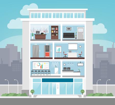 oficinistas: edificio corporativo con la oficina, sala de espera, sala de conferencias, ascensores y recepci�n, los negocios y el concepto de finanzas