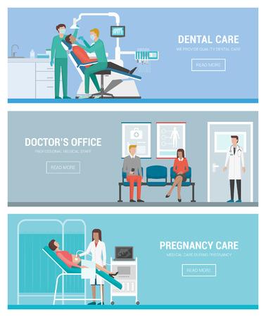 Cuidado de la salud, médicos y personas banderas establece: dentista, ginecólogo y sala de espera