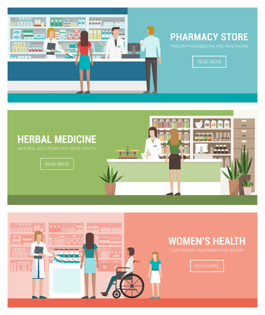 woman stairs: Healthcare, pharmacy and medicine banner set with doctors and patients: pharmacy and herbalists shop