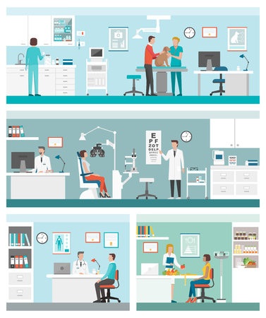 equipment: Healthcare and clinics banners set with doctors and patients: veterinarian clinic, optician, general practitioner and dietician