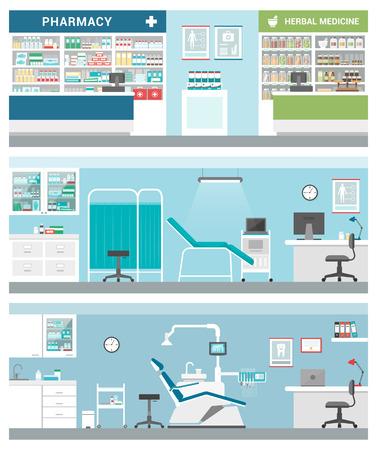 Cuidado de la salud y clínicas conjunto de la bandera: farmacia, herbolario, consultorio médico, dentista