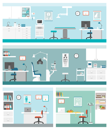 general practitioner: Healthcare and clinics banners set: veterinarian clinic, optician, general practitioner and dietician