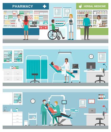 Cuidado de la salud y clínicas conjunto de banners con médicos y pacientes: farmacia, ginecólogo y dentista