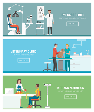 optician: Healthcare and clinics banners set: optician and eye examination, veterinary animal clinic and dietitian with patient