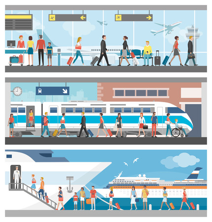 Transportation and travel set: business people and tourists at the airport, at the railway station and boarding on a luxury cruise ship