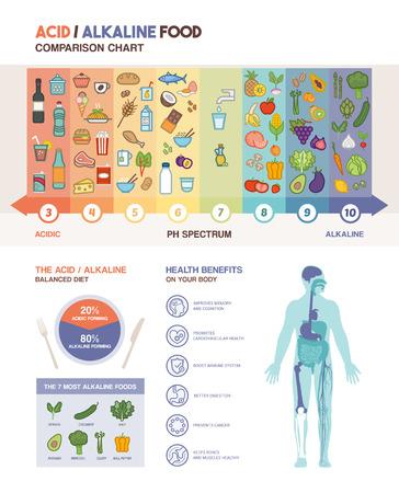 acido: La dieta alcalina infografías tabla de alimentos ácidos con los iconos de los alimentos en una escala de pH y el cuerpo con iconos beneficios para la salud