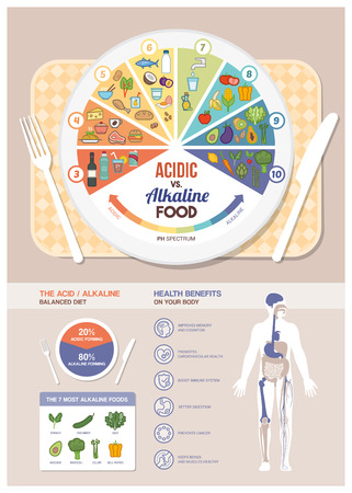The acidic alkaline diet food chart infographics with food icons on a ph scale, table with dish and human body with health benefits