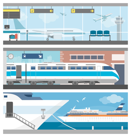 Transporte y set de viaje: aeropuerto con aviones, un tren en la estación de ferrocarril y una navegación del barco de cruceros