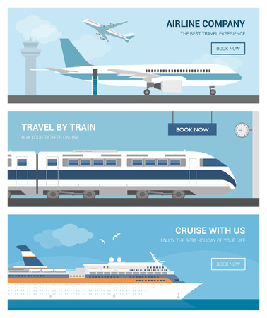 air liner: Transportation and travel set: airport with airplanes, a train at the railway station and a cruise ship sailing
