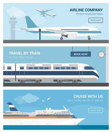 Transporte y set de viaje: aeropuerto con aviones, un tren en la estación de ferrocarril y una navegación del barco de cruceros Ilustración de vector