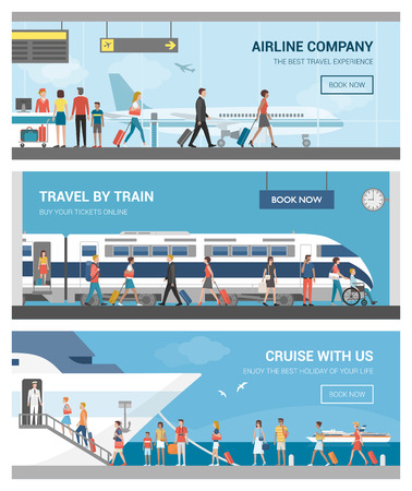 ships: Transportation and travel set: business people and tourists at the airport, at the railway station and boarding on a luxury cruise ship