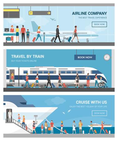 Vervoer en reizen set: zakenmensen en toeristen op de luchthaven, op het station en aan boord van een luxe cruiseschip