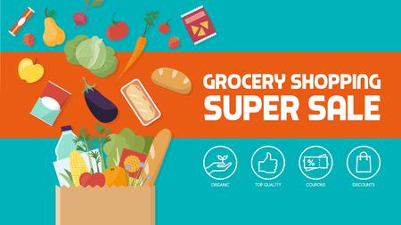 descuento de compra de comestibles, bolsa de papel llena de verduras, frutas y otros productos