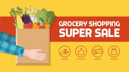 Épicerie avec le consommateur tenant un sac rempli de légumes, fruits et autres produits alimentaires, jeu d'icônes