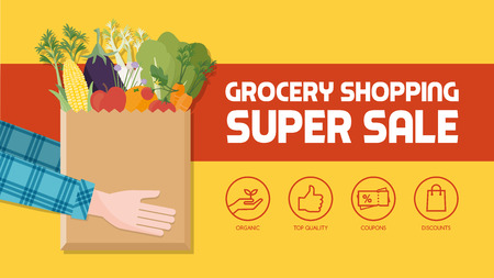 Grocery shopping with consumer holding a bag filled with vegetables, fruits and other food products, icons set Vectores