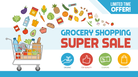 Grocery discount shopping with shopping cart filled with food and products, offers and sales concept
