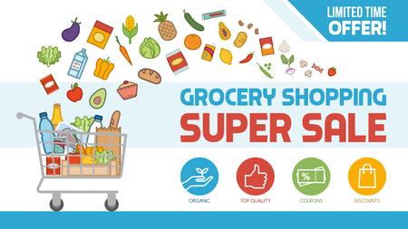 Kruidenier korting winkelen met winkelwagentje gevuld met voedsel en producten, aanbiedingen en verkoopconcept Stock Illustratie