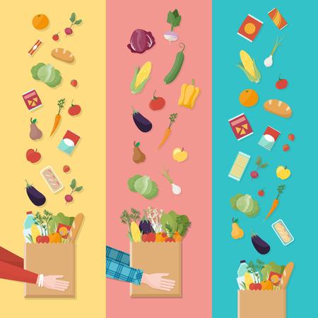 conjunto de compras de supermercado, las manos de los consumidores con una bolsa llena de verduras y productos Ilustración de vector