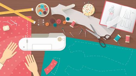 sarta professionista cucire un abito utilizzando una macchina da cucire, sarto tavolo di lavoro vista dall'alto con attrezzature da cucire Vettoriali