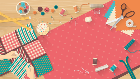 Seamstress working with quilting fabric, sewing equipment and fabric on a wooden worktop, sewing, hobby and creativity concept Ilustração