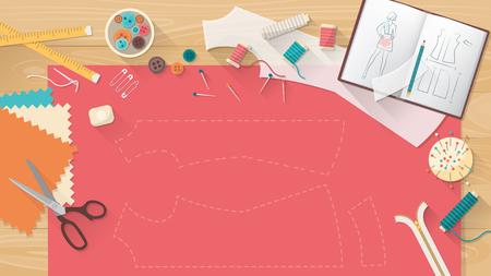 table de mesure avec un tissu, chemise motif, des ciseaux et matériel de couture, la mode et la couture concept de bannière