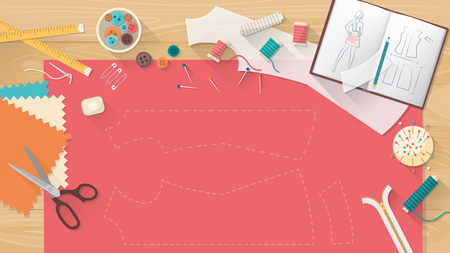 dressmaking: Tailors table with fabric, shirt pattern, scissors and sewing equipment, fashion and dressmaking concept banner