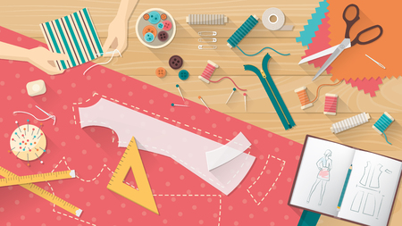 work table: Tailor working and sewing a shirt, sewing equipment, patterns and sketchbook on the work table, dressmaking concept Illustration