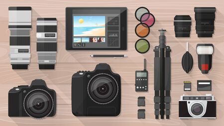 Professional photographer equipment on a desk, shooting and photo editing concept, flat lay Illustration