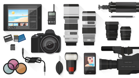 professional equipment: Video making, photography and post production with professional equipment, flat lay
