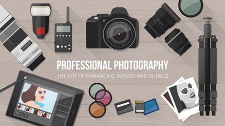 editing: Professional photographer equipment on a desk, photo editing and shooting concept, with copy space Illustration