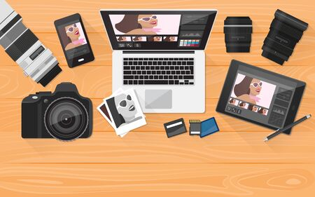 professional equipment: Professional photographer equipment on a desk, photo editing and shooting concept, with copy space Illustration